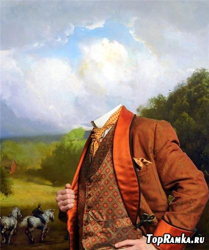 Шаблон для фотошоп - Мужской портрет
