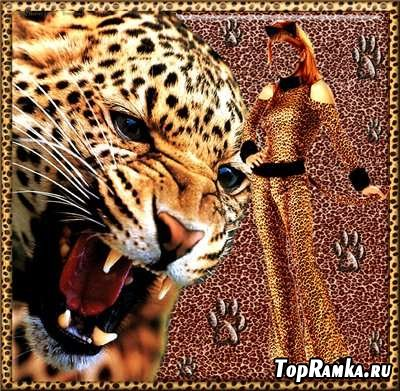 Шаблон для фотошопа - Девушка с леопардом