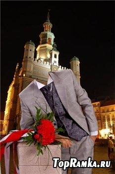 Мужской шаблон для фотошопа - С букетом роз