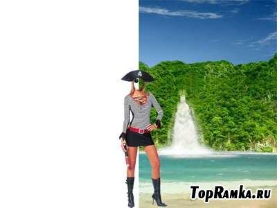 Шаблон для фотошопа – Девушка-пиратка