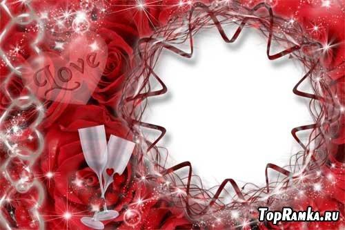 Романтичная рамка в день влюбленных