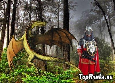 Детский шаблон для фотошоп - Бой с драконом