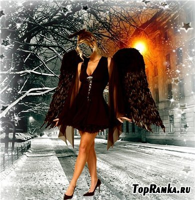 Женский шаблон для фотошоп - Ангел в ночи