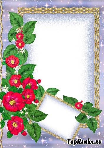 Рамка для двух фото с цветочками