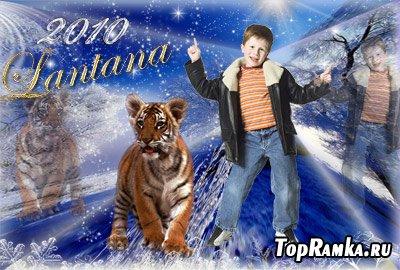 Шаблон для фотошопа Прогулка с тигром