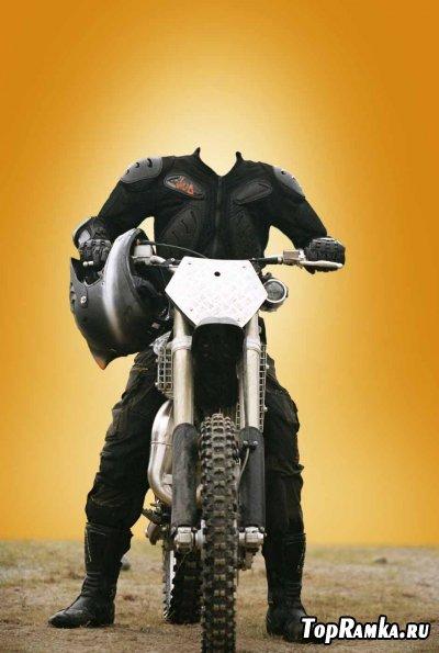 Мужской шаблон для фотошопа - Мотоциклист