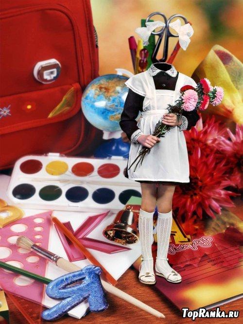 Детский шаблон для фотошопа - Школьница
