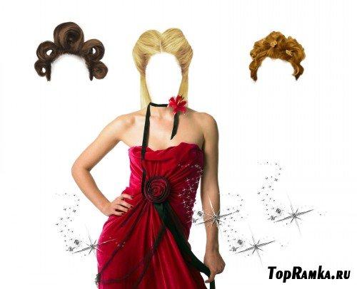 Шаблон для фотошопа - девушка в красном