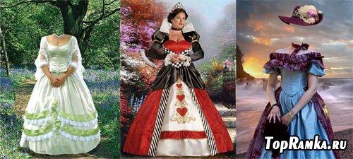 Женские шаблоны для фотошопа в длинном платье