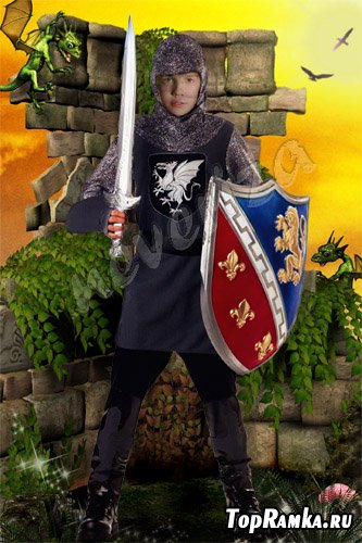 Шаблон для photoshop – Доблестный рыцарь!