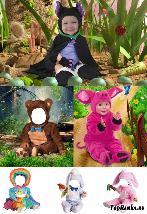 Шаблоны для фотошопа - Забавные малиши
