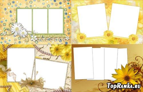 Красивые желтые рамки с цветами
