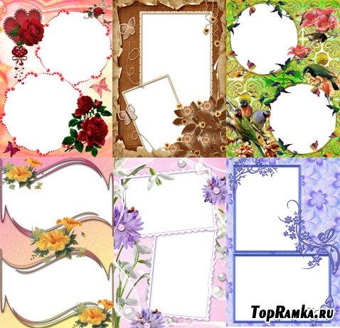 Красивые рамки с цветами для двух фотографий
