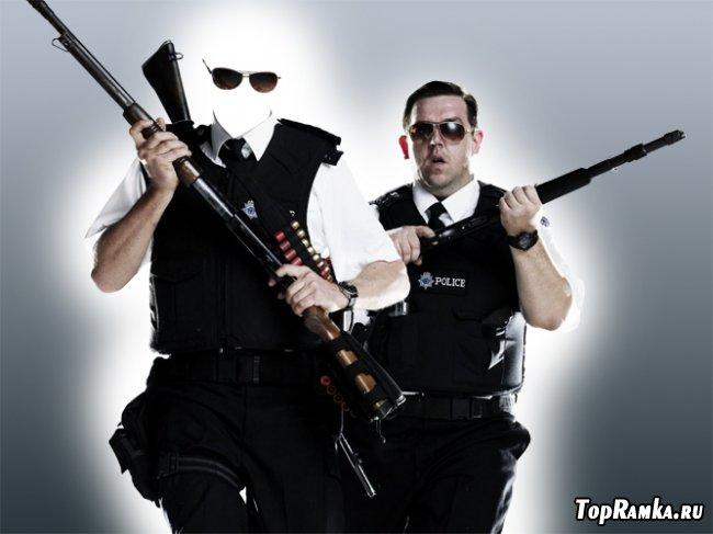 Скачать бесплатно мужской шаблон для фотошопа - Сотрудник полиции