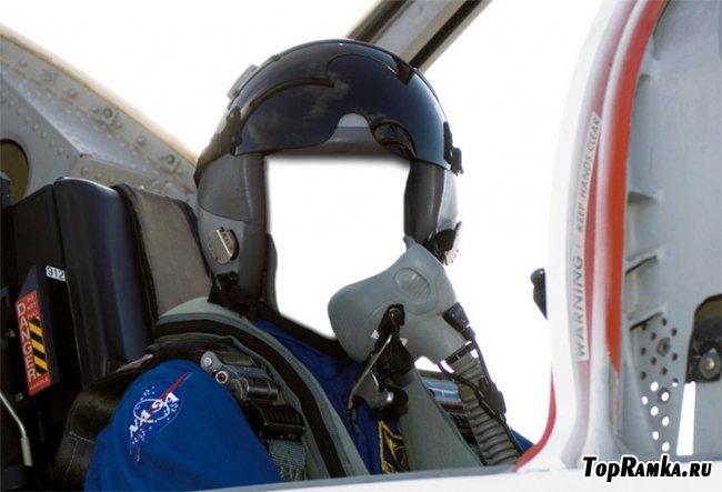 Мужской шаблон для фотошопа - За штурвалам  самолета