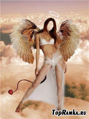 Женский шаблон для фотошоп - Я просто ангелфотошоп