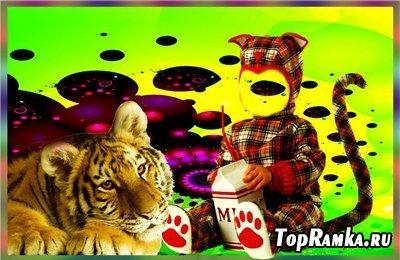 Детский шаблон для фотошоп - Тигрята
