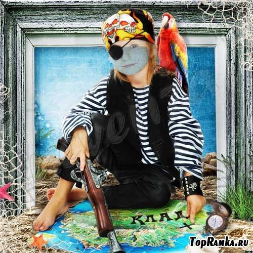 Шаблон для photoshop – Пиратские сокровища
