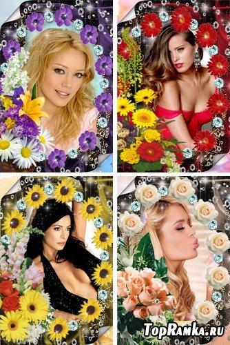 Рамочки для оформления фото - Драгоценные камни и цветы