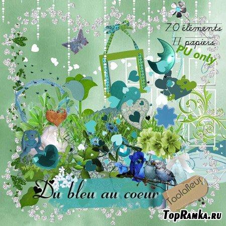 Скрап набор - Bleu au Coeur