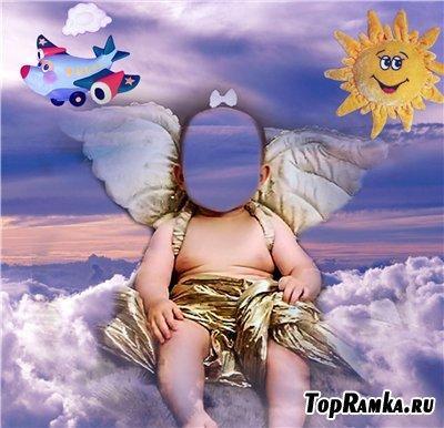 Детский шаблон для фотошоп - Ангелок на облачке