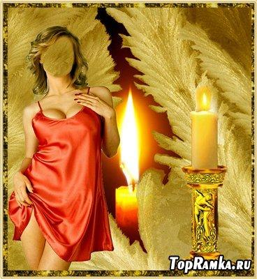Женский шаблон для фотошоп - Горит свеча