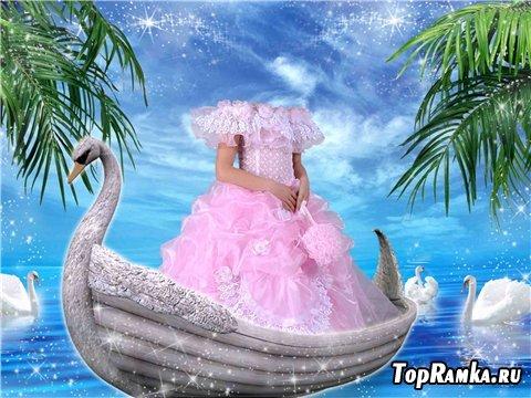 Шаблон для фото – Девочка в лодке