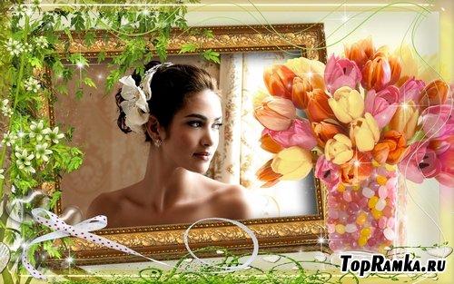 Рамочка для оформления фото - Букет тюльпанов