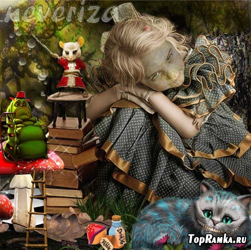 Шаблон для photoshop – Алиса в стране чудес