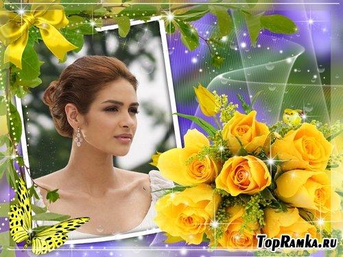 Рамочка для оформления фото - Желтые розы