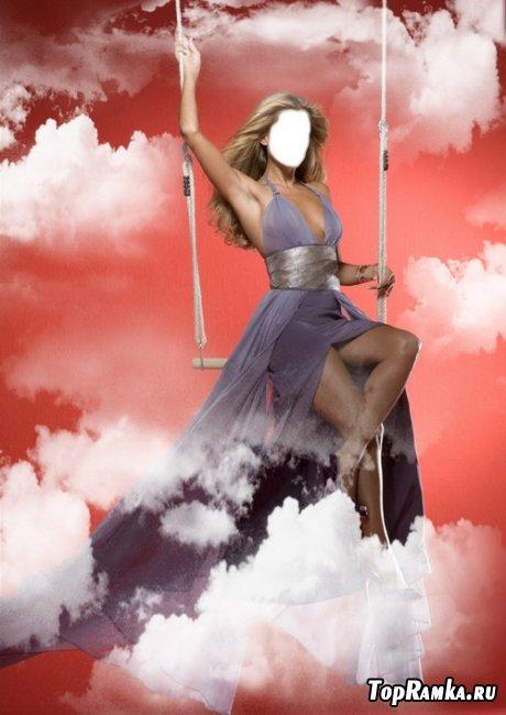 Женский шаблон для фотошопа - В облаках