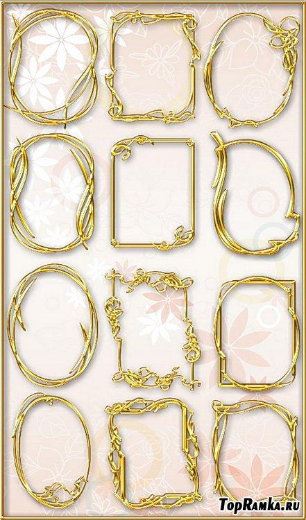 Золотые фигурные рамки