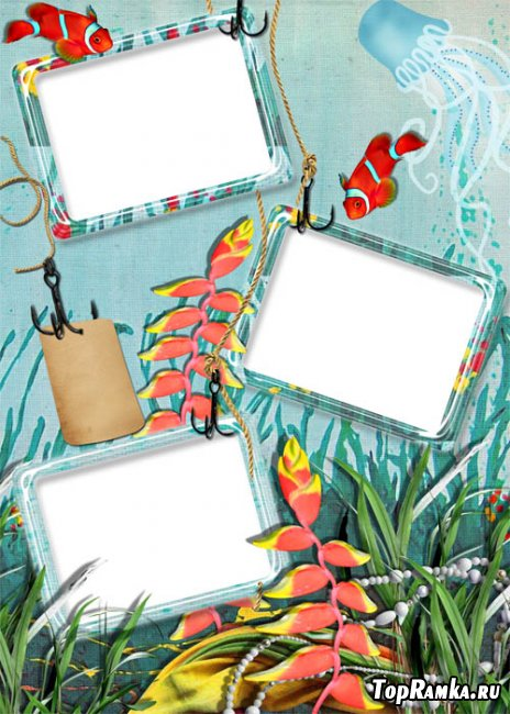 Скачать бесплатно детскую морскую рамку для трех фотографий
