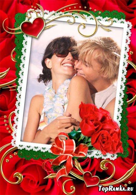 Рамка  для влюбленных с сердечками и розами