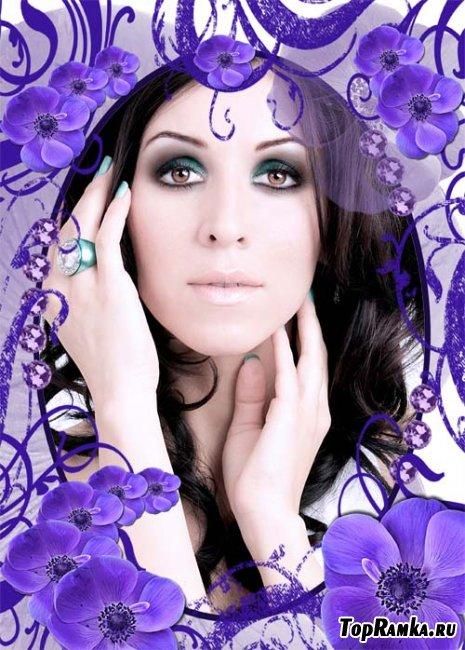 Скачать бесплатно фиолетовую рамку с цветами