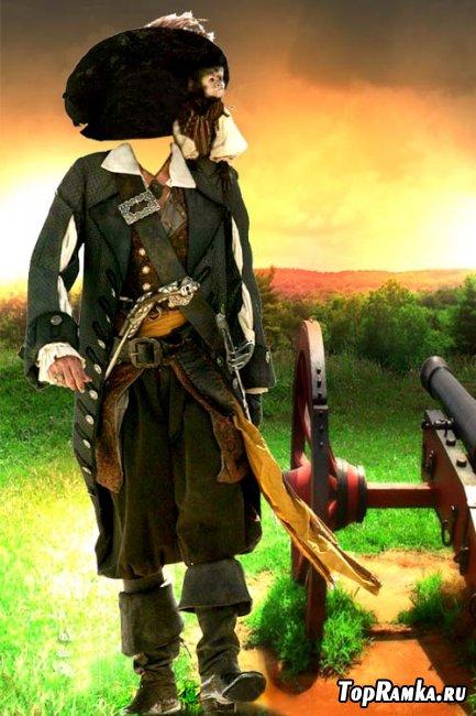 Скачать мужской шаблон для фотошопа - Pirat Barbossa