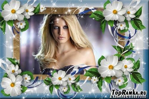 Рамочка для Photoshop Белые цветочки