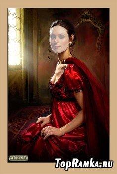 Шаблон для фотошоп - Девушка в красном!