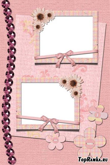 Скачать бесплатно розовую рамку для двух фотографий