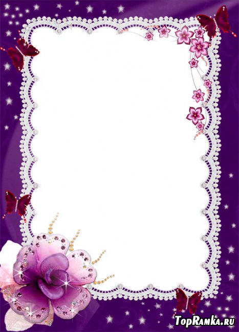 Рамка для фотошопа  фиолетовая с бабочками