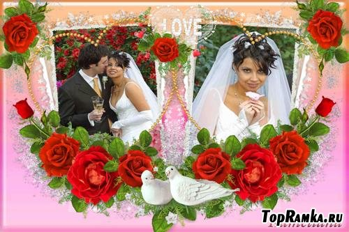 Свадебный сезон от Kameliana - рамка №1 Красные розы