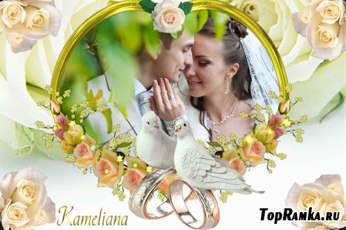 Свадебный сезон от Kameliana - рамка № 2- Два свадебных голубка