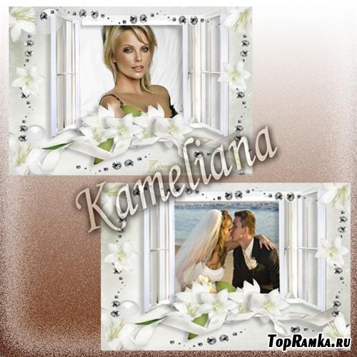 """Свадебный сезон от Kameliana - рамка № 4 """"Белые лилии"""""""