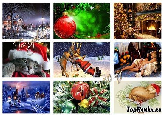 Коллекция Новогодних открыток, которые можно использовать в качестве Обоев  для рабочего стола.