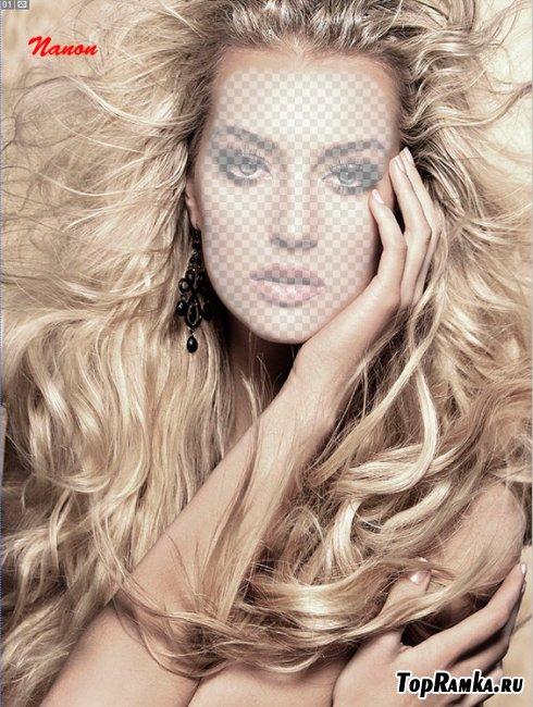 Женский шаблон для фотошоп - Блондинка