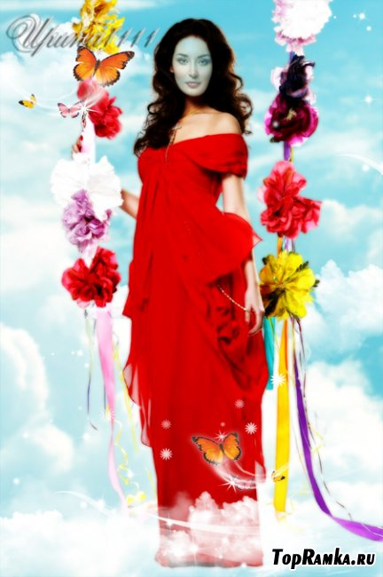 Женский шаблон для Photoshop - Небесные качели