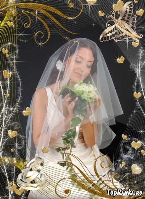 """Свадебная рамочка """"Золотые узоры"""""""
