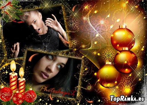 Новогодняя рамка для Photoshop – Новогодний гламур