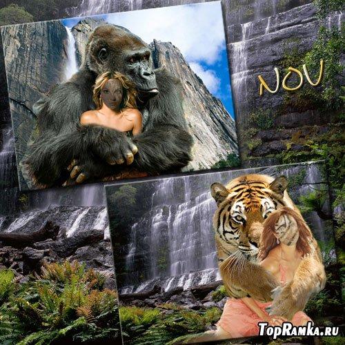 Шаблоны для фотошопа - В обнимку с животными