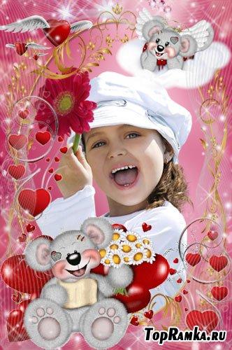 Романтические рамочки для фото - Счастливые мишки